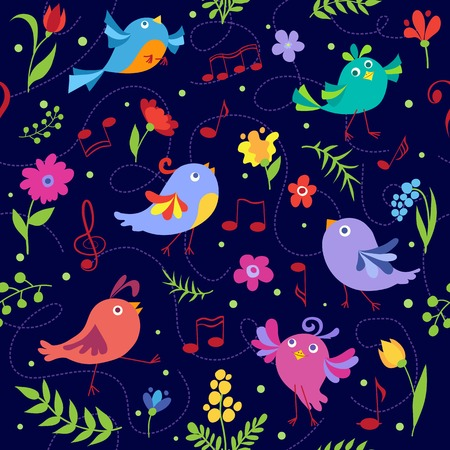 Cute spring musical birds seamless pattern. Vector cartoon background. Vector