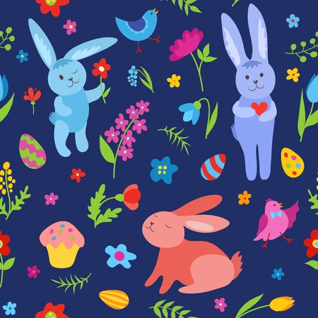 Cute Easter rabbits seamless pattern. Vector cartoon background. Vector