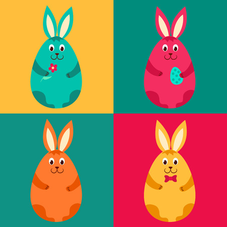 brown hare: Four color easter rabbits. Vector cartoon illustration.