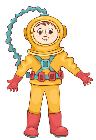 deep sea diver: Diver isolated on white. Vector cartoon illustration. Illustration