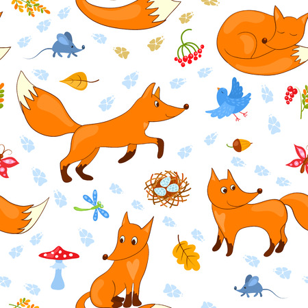 Seamless pattern with foxes. Vector cartoon background. Vector