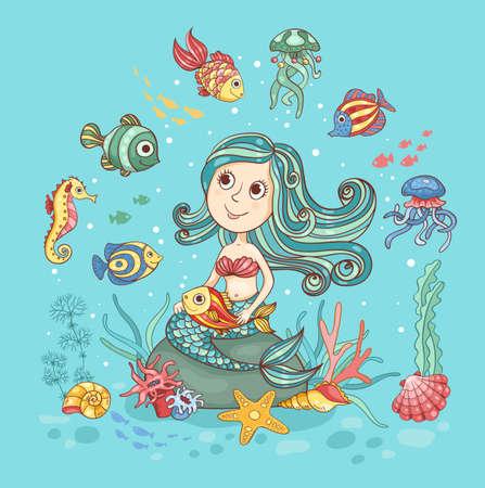 Illustration de bande dessinée des enfants avec sirène. Carte mignonne de vecteur. Banque d'images - 34219885