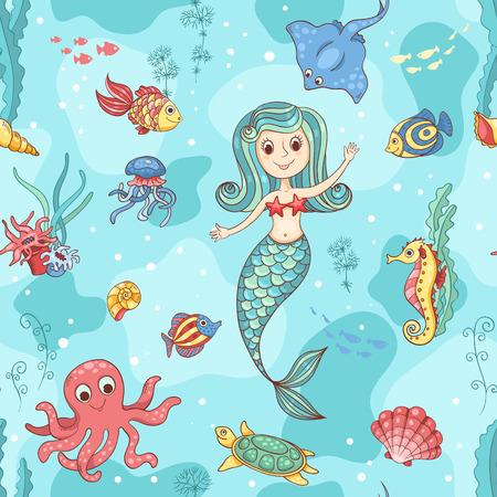 人魚とのシームレスなパターン。ベクトル漫画の実例。  イラスト・ベクター素材