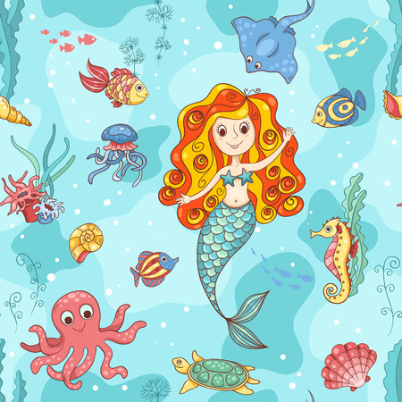 赤い人魚とのシームレスなパターン。ベクトル漫画の実例。