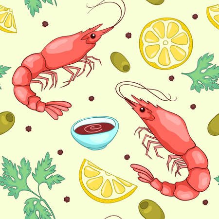 fishy: Seamless pattern with shrimps. Vector cute cartoon background.