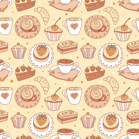Seamless pattern with coffee cups. Vector sketching background. Vector