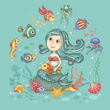 Дети мультфильм иллюстрация с русалкой. Симпатичные карты вектор.