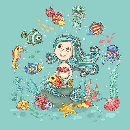 sea nymph: Children cartoon illustration with mermaid. Cute vector card.