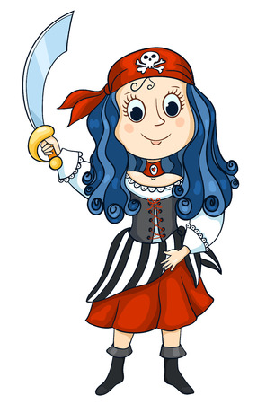 The cute girl in a costume of the pirate. Isolated on white. Vector sketch illustration.
