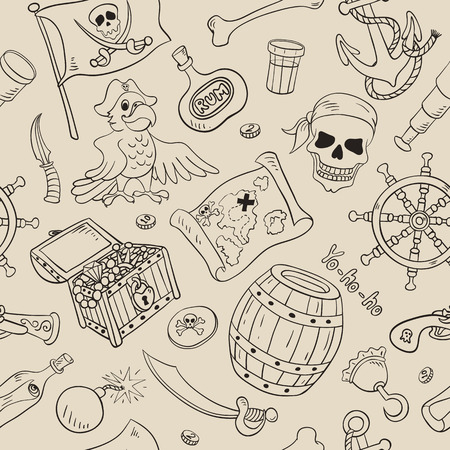 Pirate seamless pattern. Sketch cartoon background. Vector