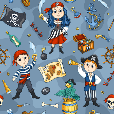 pirate girl: Cute pirates seamless pattern. Vector cartoon background.