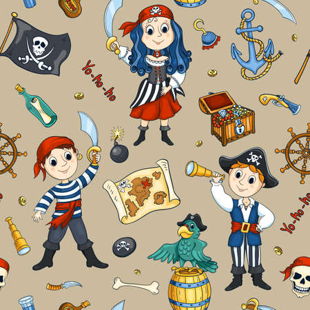 Cute pirates seamless pattern. Vector cartoon background. Vector