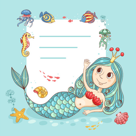 sea nymph: Cutest card with the mermaid princess. For your text. Vector cartoon illustration. Illustration