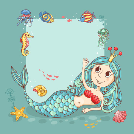Cutest card with the mermaid princess. For your text. Vector cartoon illustration. Çizim