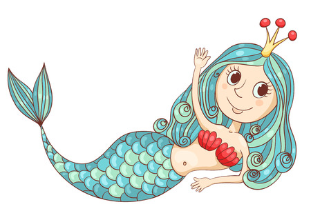 Cute lying mermaid. Vector cartoon sketch illustration. Isolated on white.