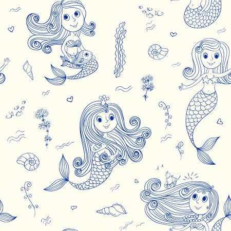 Doodle mermaids seamless pattern. Vector sketch background. Vector