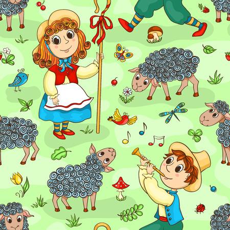 Seamless pattern with shepherd-girl and shepherd-boy. Cartoon vector background. Иллюстрация