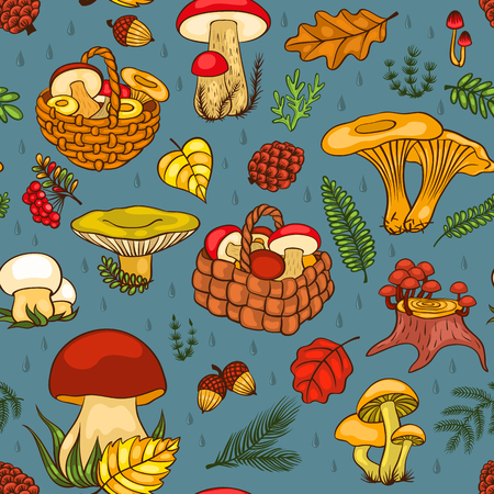 Seamless pattern with mushrooms. Vector cartoon background. Vector