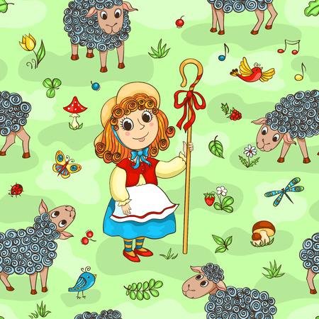Seamless pattern with shepherd-girl. Cartoon vector background.