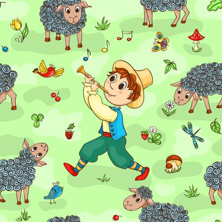 shepherd with sheep: Seamless pattern with shepherd-boy. Cartoon vector background.