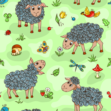 shepherd with sheep: Seamless pattern with sheep. Cartoon vector background.