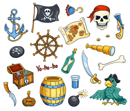 rum: Pirate cartoon vector set. Isolated on white.