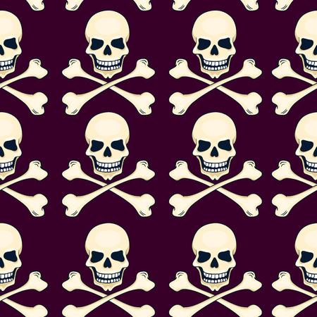 Cartoon skulls seamless vector pattern. Halloween background.