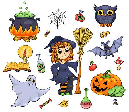 Cute Halloween set. Isolated on white. Vector cartoon illustration. Vector