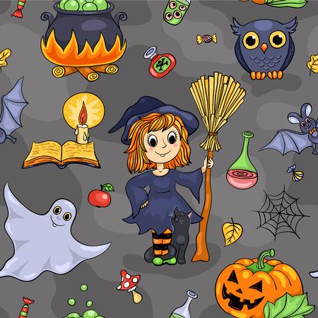 Cute Halloween seamless pattern. Vector cartoon background. Vector