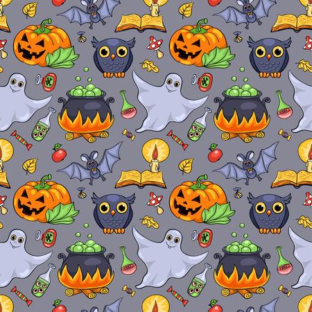 Cute cartoon Halloween seamless pattern. Vector background. Vector