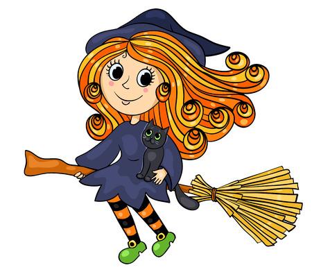 czarownica: Śliczna mała czarownica latania. Cartoon ilustracji wektorowych. Pojedynczo na białym. Ilustracja