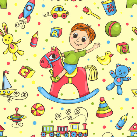 Cute hand-drawn vector seamless pattern with  boy and toys. Cartoon background. Vector