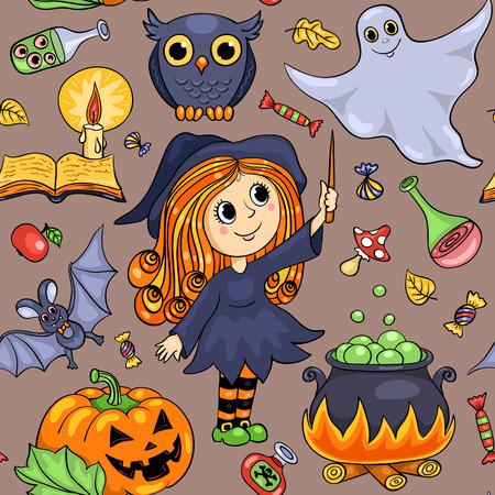 cartoon autumn: Cute cartoon Halloween seamless pattern. Vector background. Illustration