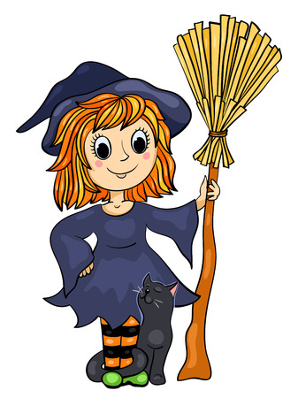 hair dressing: Cute little witch with a cat and broom. Cartoon vector illustration. Isolated on white.