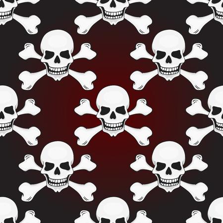 Halloween skulls seamless pattern. Vector background. Vector
