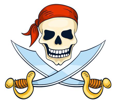 Cartoon hand-drawn skull isolated on white. Vector illustration. Vector