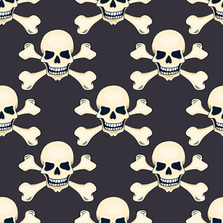 skull and cross bones: Cartoon hand-drawn skull seamless pattern. Vector background. Illustration