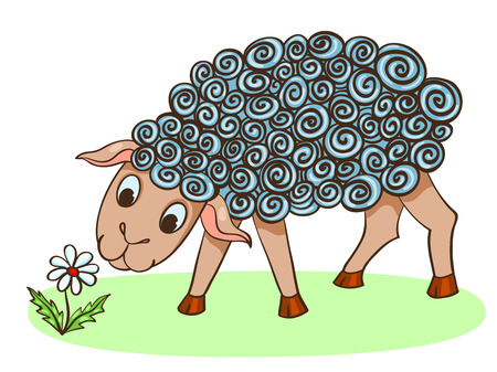 flock of sheep: Cartoon hand-drawn cute sheep with flower. Vector illustration. Isolated on white.