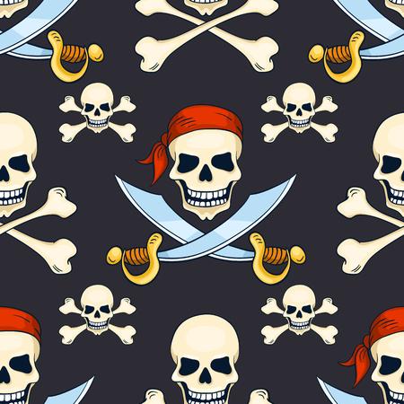 Cartoon vector hand-drawn pirate skulls seamless pattern. Halloween background.
