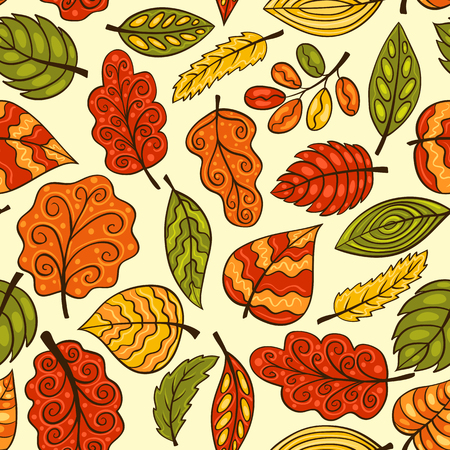 Beautiful hand-drawn seamless pattern with autumn leaves. Vector sketch background. Vector