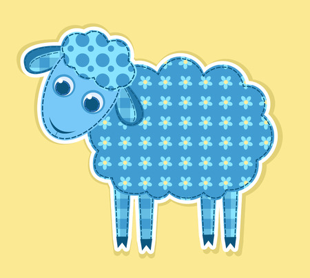 Cute vector patchwork sheep. Children illustration. Vector