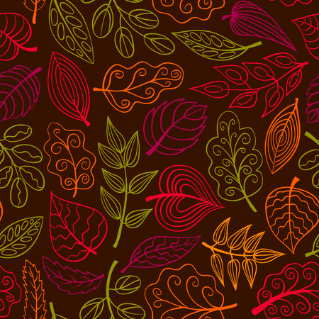 Hand-drawn dark seamless pattern with leaves. Vector sketch background. Vector