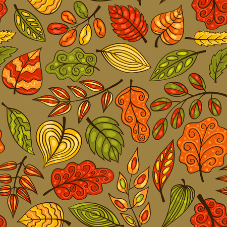 Cartoon hand-drawn seamless pattern with leaves. Vector sketch background. Vector