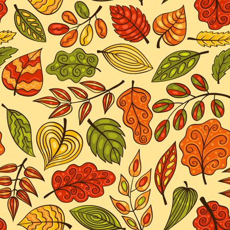 Hand-drawn seamless pattern with autumn leaves. Vector sketch background. Vector