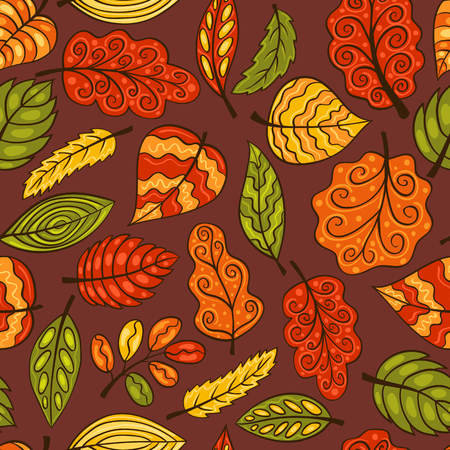 Hand-drawn seamless pattern with leaves. Vector sketch background. Vector