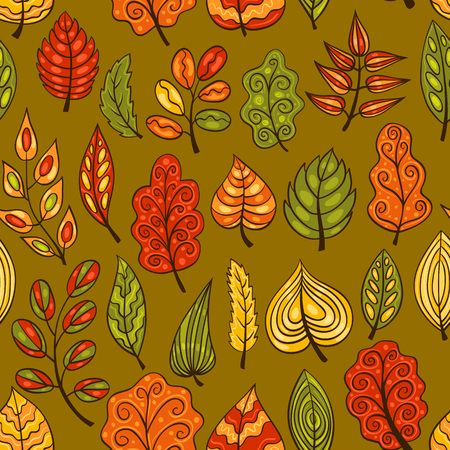 Cartoon hand-drawn seamless pattern with autumn leaves. Vector background. Vector