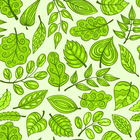 Cartoon disegnati a mano seamless con foglie di primavera. Vector background.