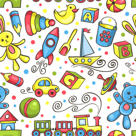 Cute hand-drawn seamless pattern with toys. Vector background. Illustration