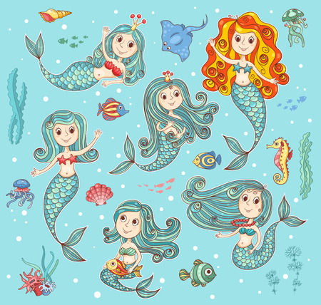 tail: Cute vector set with happy mermaids. Cartoon illustration.