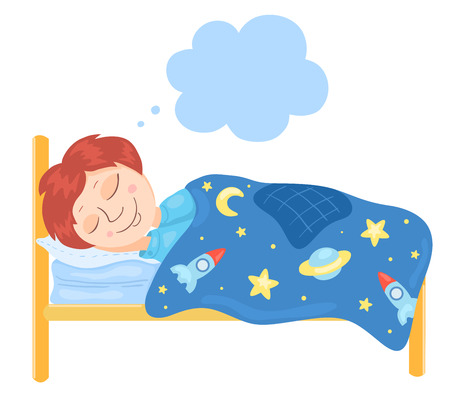 lying in bed: The boy sleeps in a bed. Children vector illustration.